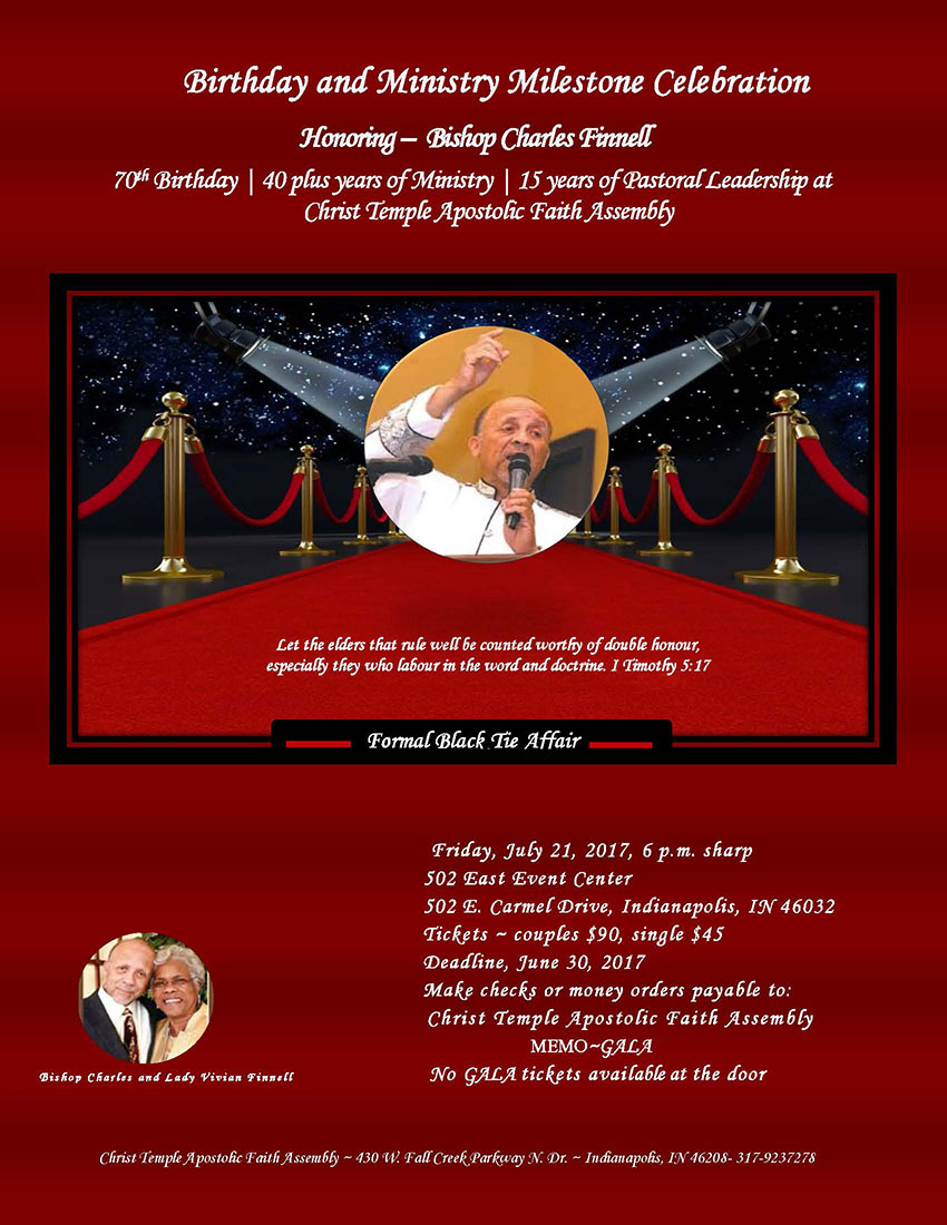 Bishop Charles Finnell Birthday and Ministry Celebration.