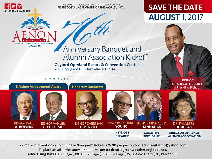 Aenon Bible College 76th Anniversary Banquet & Alumni Association Kickoff