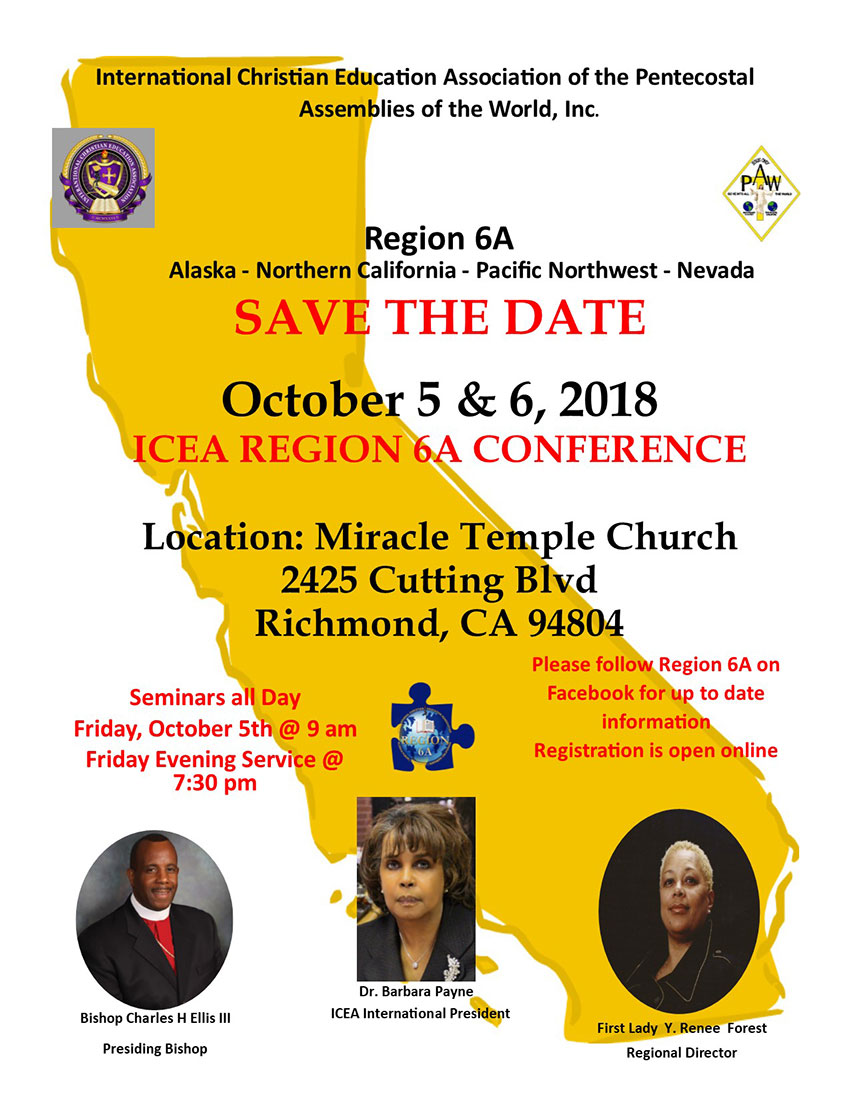 International Christian Education Auxiliary Region 6A Conference Fall 2018 Save the Date.