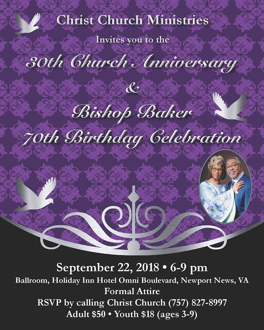 Christ Church Virginia 30th Anniversary and Bishop Baker's 70th Birthday